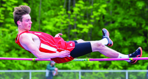 Seamus Higgins just clears the high jump bar at the Vermont State Track and Field Championships at Burlington High on Saturday the 3rd