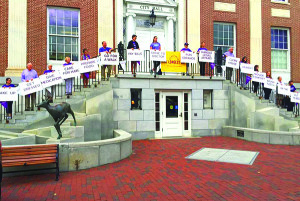 Observer courtesy photo Caregivers on the steps of City Hall in Burlington last Wednesday.