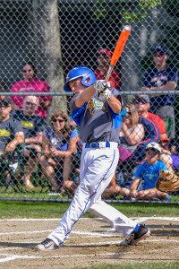 Jared Anderson launches a home run to left center during the Williston Little League 11-12 All Stars game with Shelburne on Sunday the 9th.