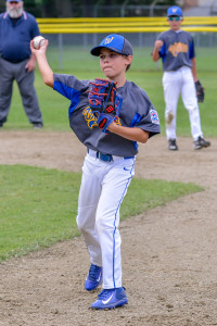 Kyle Eaton makes the short throw to get the runner during the Williston Little League 11-12 All Stars game with Shelburne on Sunday the 9th.