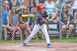 Jonathan Deyo was able to check his swing during during the Williston Little League 9-10 All Stars game with Shelburne on Sunday the 9th.