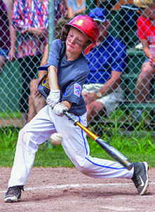 Tom Barnes gets bat to ball during during the Williston Little League 9-10 All Stars game with Shelburne on Sunday the 9th.
