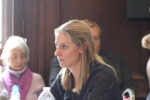 Amy Cooper, the executive director of HealthFirst and the lead representative of the proposed Green Mountain Surgical Center, testifies before regulators in April. File photo by Erin Mansfield/VTDigger