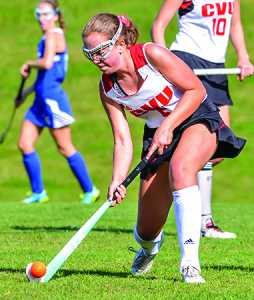Maggie Warren makes a pass during CVU's game vs Colchester on Saturday