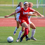 #2 gets past her opponent during CVU's soccer match vs Burlington High on Saturday the 16th.