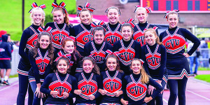 CVU's Cheerleading squad posed for the camera at the half of CVU's home opener vs Rutland on Saturday.