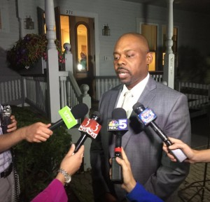 Burlington Schools Superintendent Yaw Obeng answers reporters questions following successful mediations bringing a close to a teachers strike. Photo by Morgan True/VTDigger