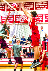 Devin Rogers makes the block during CVU's match with Lyndon on Friday afternoon in Hinesburg.