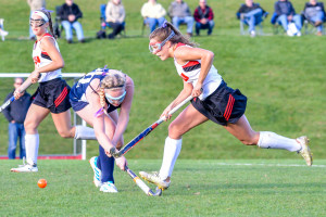 Lydia Maitland gets by her defender during CVU's game vs MMU on Oct 17 in Hinesburg.