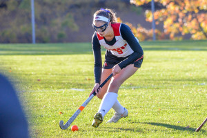 Julia Bryant plays strong defense during CVU's game vs MMU on17Oct17