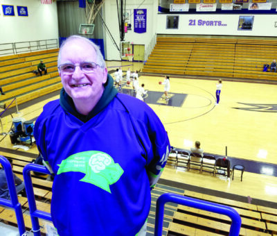 Dave Landers in the stands at the St. Michael's College basketball arena