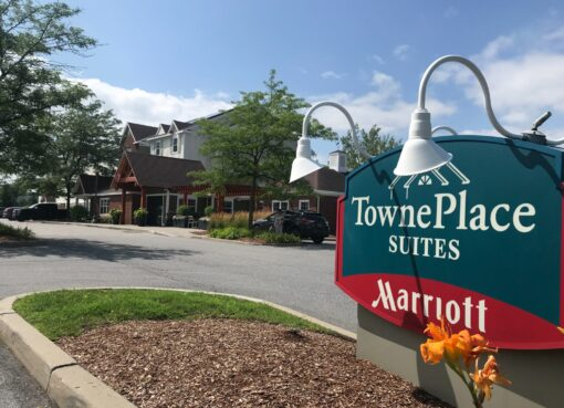 Town Place Suites Marriott sign with hotel in background